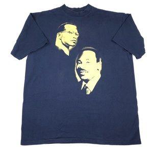 Vintage Black History MLK JR Malcom X Rap Tee XL